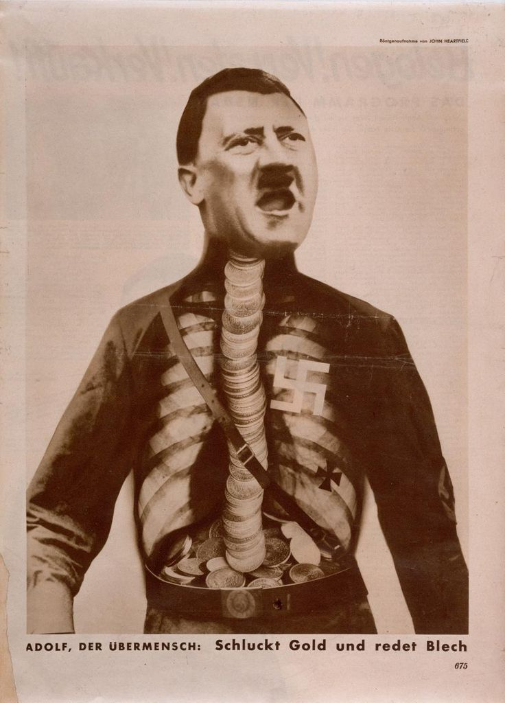 John Heartfield  German 1891-1968 Adolf, the superman: swallows gold and sprouts rubbish from the Workers Illustrated Paper, vol 11, no 29, 17 July 1932, p 675 photolithograph