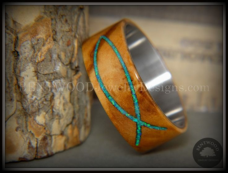 "Bentwood Ring - ""Ichthys"" Exotic Bethlehem Olivewood and Opal Inlay on Titanium"