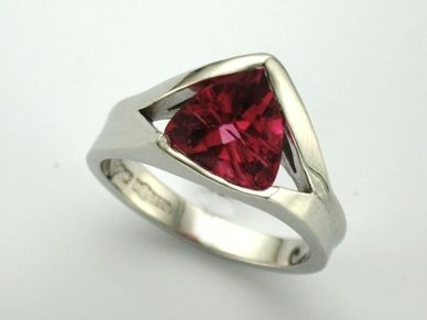 TINA  --  Striking  Engagement Ring set with Trillion Cut Rose Tourmaline  Corner set in this Unique Angled Setting.      Custom made in 18ct White Gold!