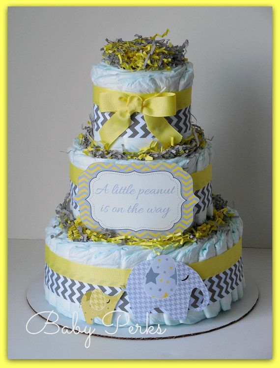 Baby of Mine. Diaper Cake , yellow and Grey Baby Shower , Chevron Baby Shower, yellow and Gray Baby shower, Baby Shower Decorations
