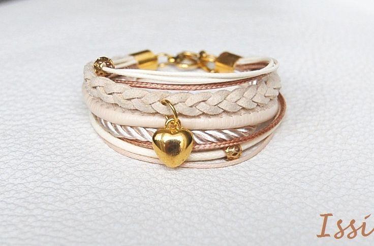 GOLDEN HEART /  handmade bracelet by Issi
