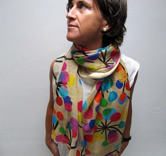 Pañuelo estampado de lana y seda estampado por katakdesign en Etsy