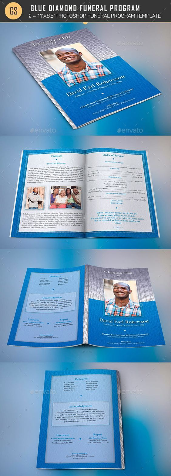 Blue Diamond Funeral Program Template by Godserv2 Blue Diamond Funeral Program Template is for a modern memorial or home going service. It's a blue and gray theme with diamond patt