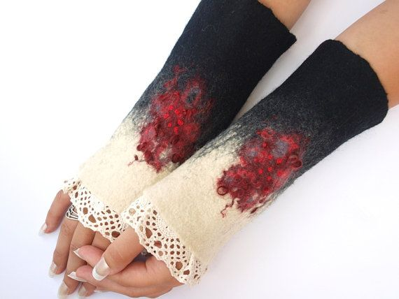 Romantic cuffs hand felted lace very warm by ArtMode on Etsy, $43.00