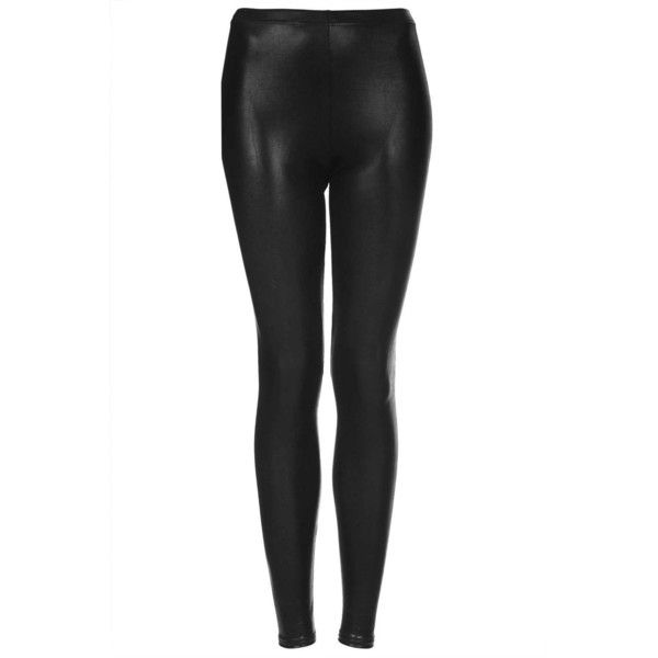 TOPSHOP High Shine Wetlook Leggings (12 CAD) ❤ liked on Polyvore featuring pants, leggings, bottoms, topshop, black, shiny pants, legging pants, wetlook leggings, topshop pants and wet look leggings
