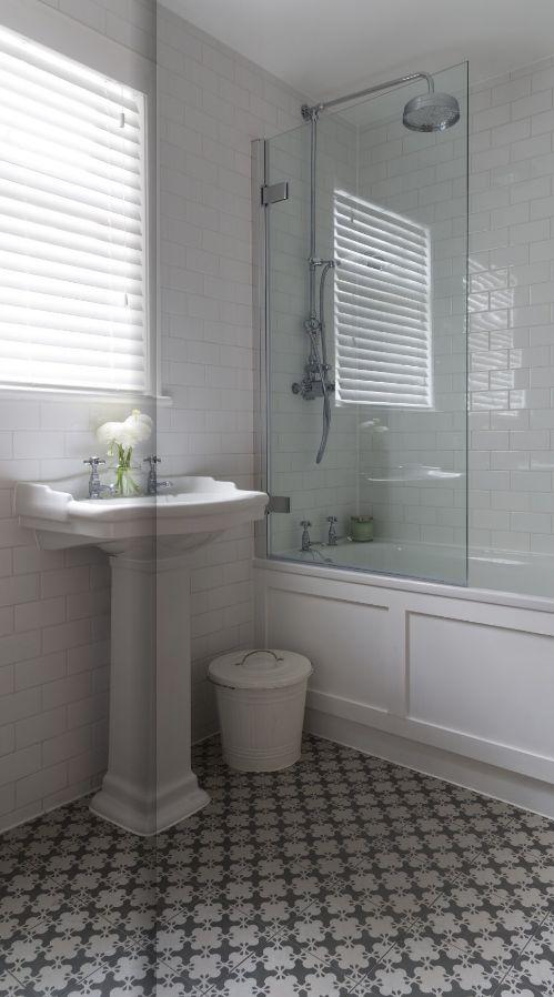 Bathroom Basic White Subway Bathroom With 1 Glass Side