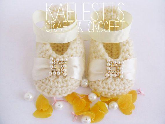 Doll Crochet Baby Ballerina Ballet Slippers by KaelestisCrochet