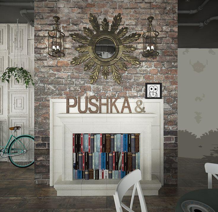 """Ресторан актуального дизайна """"PUSHKA & МУШКА"""" Эклектичный дизайн с акцентом на актуальные детали."""