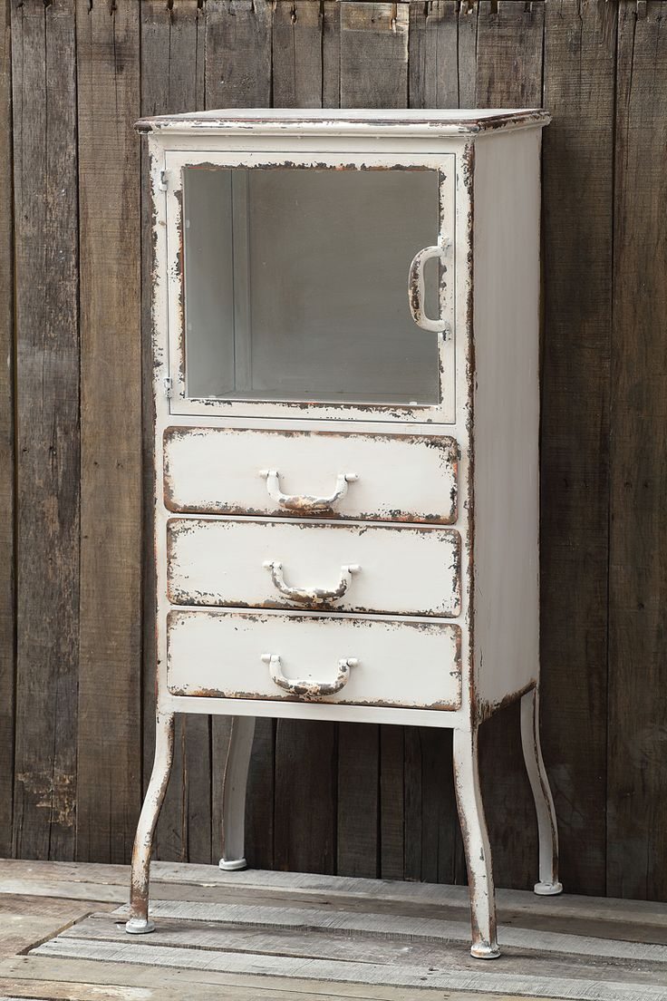 Distressed White Metal Apothecary Cabinet Farmhouse