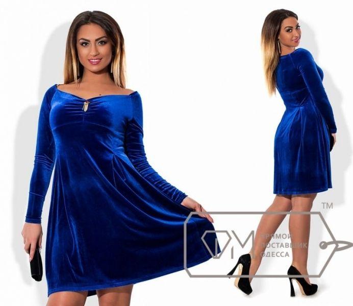 Бархатное платье с длинным рукавом большого размера электрик