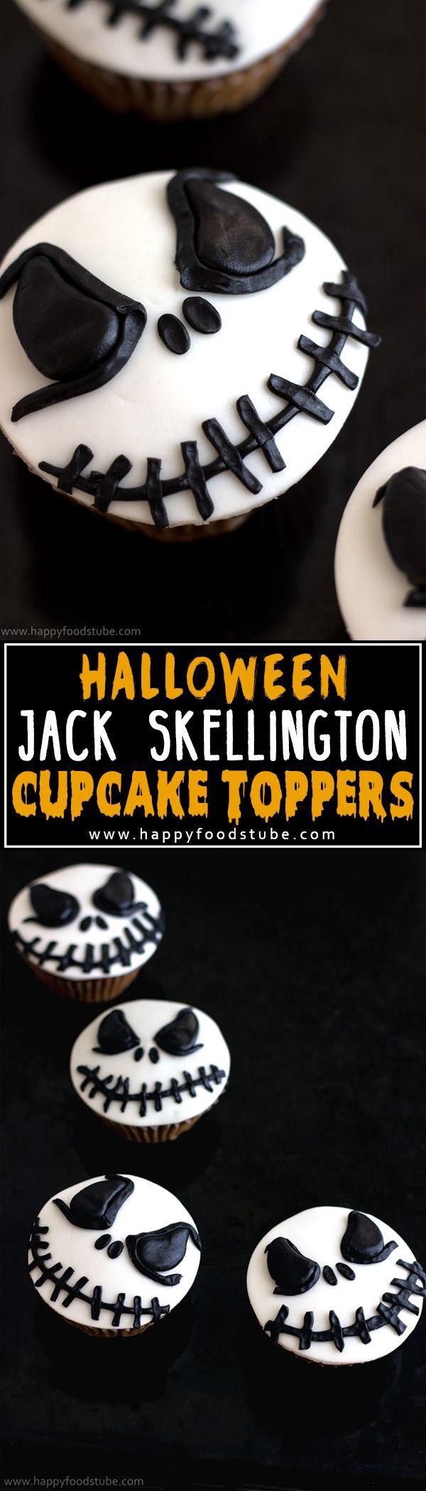 How to make Halloween Jack Skellington Cupcake Toppers. Easy cake/cupcake decorating tutorial! | happyfoodstube.com