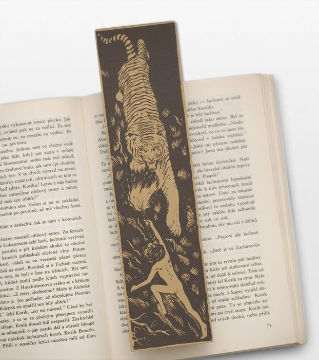 Mowgli Bookmark, the fight with Shere Khan, the tiger