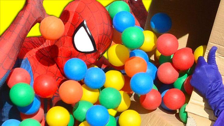 Spiderman vs Joker COLORED BALLS! Box Prank w/ Joker Pool Party & Frozen...