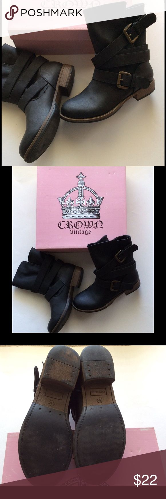 Darling Moto Boots  Black Moto boots with wrap around straps and two buckles. Crown Vintage Shoes Ankle Boots & Booties