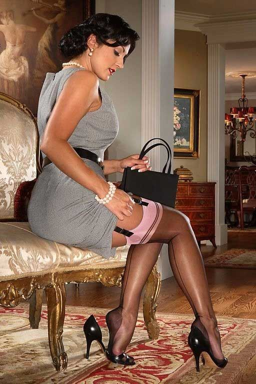 Nylon Stocking Teasing Blonde mature pantyhose cam Milf with huge boobs teases nylon stockings clad feet vintage lingerie killer high heels wanking.