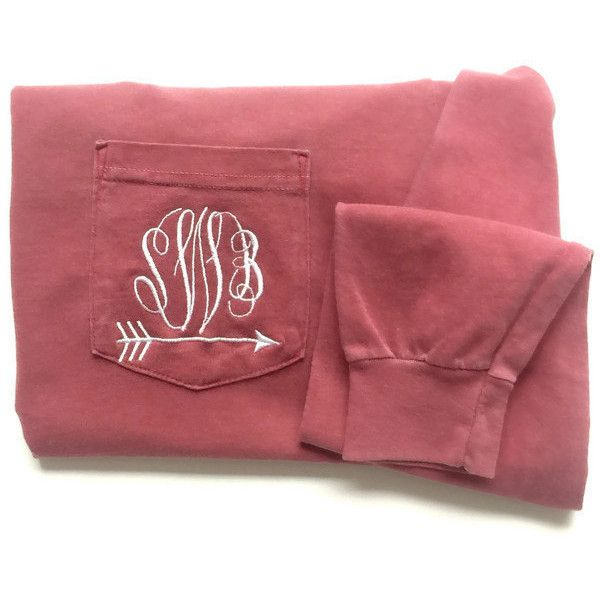 Long Sleeve Monogram Comfort Colors Pocket Tee With Arrow ($30) ❤ liked on Polyvore featuring tops, t-shirts, maroon, women's clothing, long sleeve pocket tee, monogram t shirts, embroidered t shirts, tee-shirt and t shirts