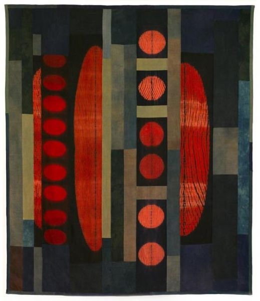 """Frank Connet """"Untitled #T-115"""" Wool. As a textile restorer, fabricator, and innovator, Connet relishes the time he spends creating unique textile designs using ancient Japanese dyeing techniques. The above is from a large group of pieces that are all based on this lenticular form called a vesica piscis, which is Latin for fish bladder. It's the shape created when two circles overlap, and it symbolizes balance."""