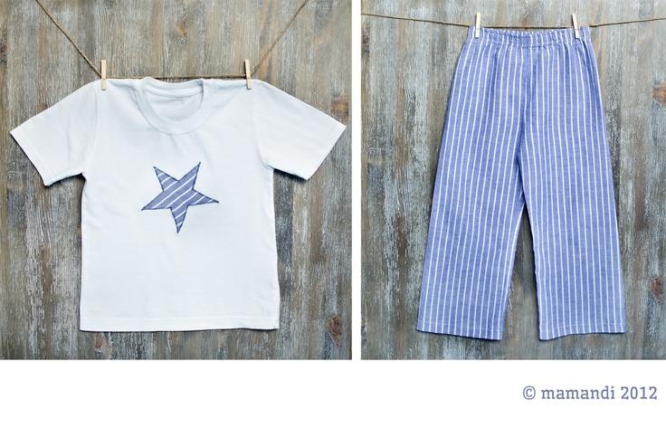 """piżamka 'Miki"""" dla chłopca - niebieska gwiazdka i paski"""