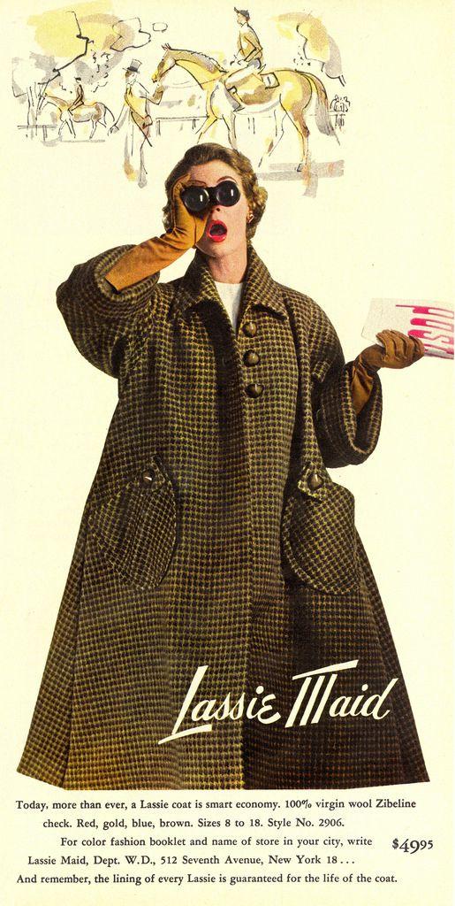 Lassie Maid fall/winter coat ad, Women's Day magazine, Sept. 1952. #vintage #1950s #fashion