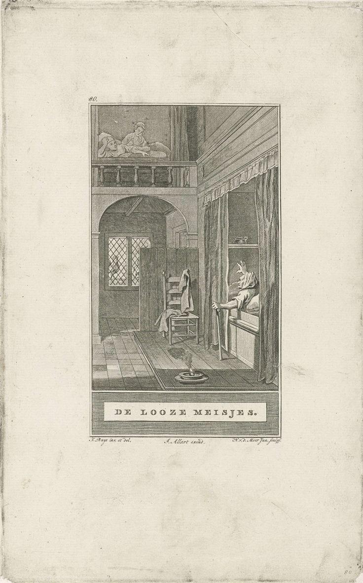 Noach van der Meer (II)   Wekken van de jonge meisjes, Noach van der Meer (II), Johannes Allart, 1777   Een oude vrouw roept vanuit haar bedstee de twee meisjes, die bij haar in huis wonen, wakker. Voor het raam kraait de haan.