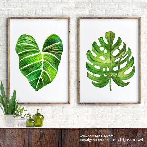 Acuarela de hoja de Palma carta del botánico print Tropical