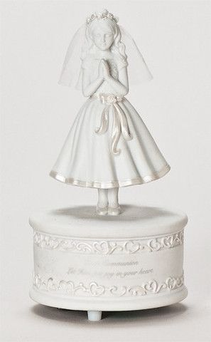 First Communion Little Girl Musical Figure Plays The Lord's Prayer – Beattitudes Religious Gifts