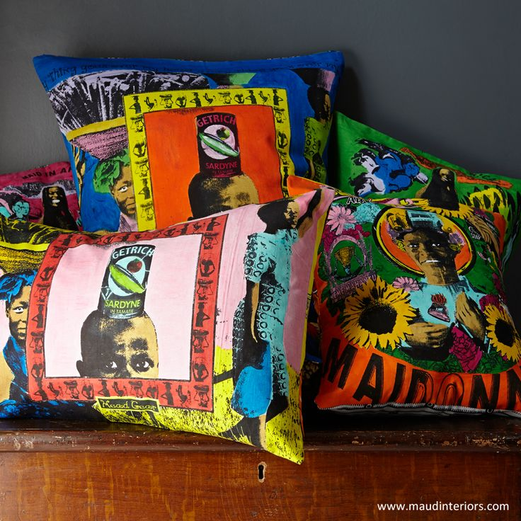 Hand printed and hand painted African cushions from our Namibian collection. By Maid in Africa www.maidinafrica.com www.maudinteriors.com