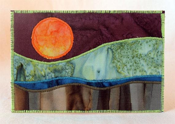 Fabric postcard, landscape quilt, small art by JPG Studio 2536 ... : postcard quilts - Adamdwight.com