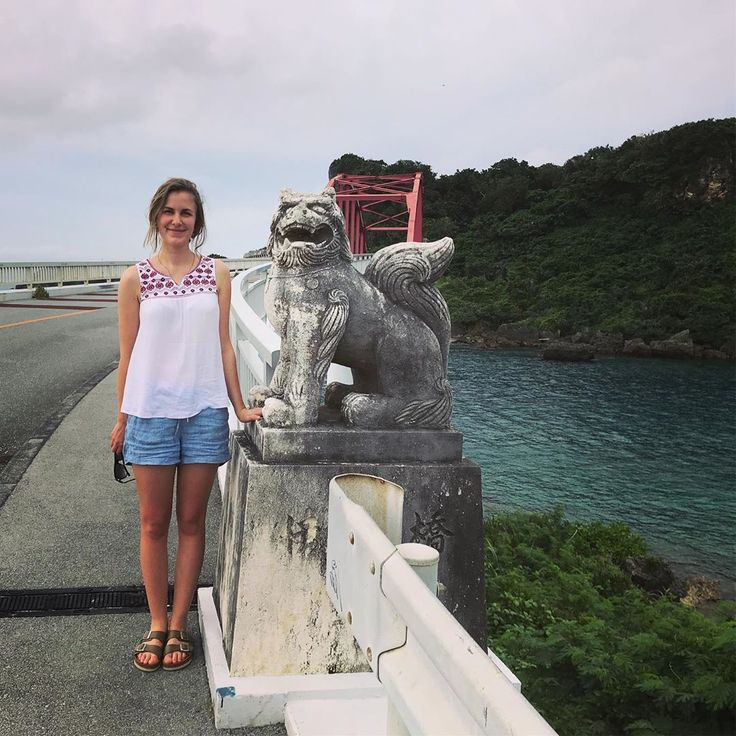First day in Okinawa: Dean and Nadia pose on a bri…