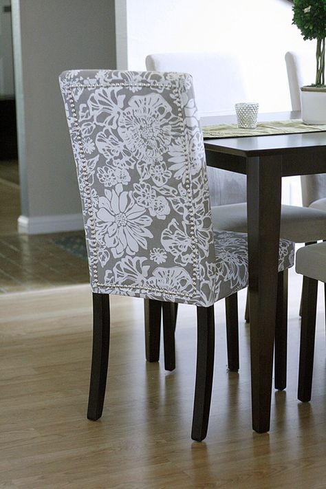 PINTEREST CHALLENGE: REUPHOLSTERED PARSONS CHAIR - love the contrasting chair idea!