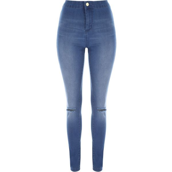 Women's Ripped, High-Waisted & Skinny Jeans | Jane Norman  | Jane... ❤ liked on Polyvore featuring jeans, high rise flare jeans, blue ripped skinny jeans, high waisted ripped jeans, high-rise flared jeans and super skinny jeans
