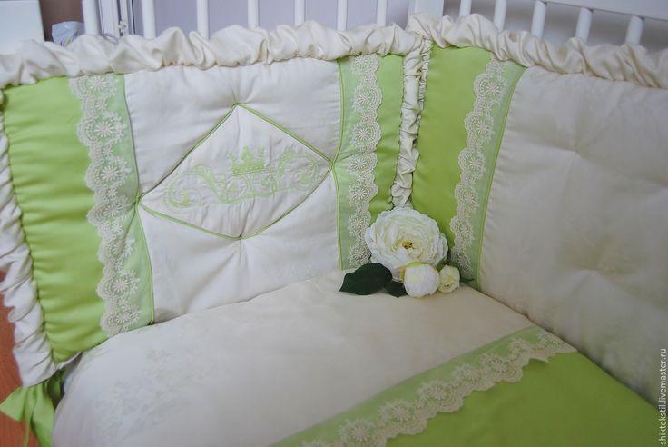 Купить Бортики в кроватку с кружевом из ткани тенсел №10 - лимонный, шампань, фисташка, олива, тенсел