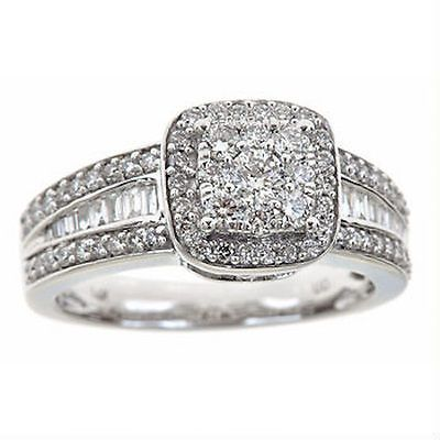 1.00 Carat Baguette and Round Diamond Split Shank Ring in 14K White Gold