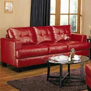 Check out the Coaster Furniture 501831 Samuel Contemporary Leather Sofa in Red