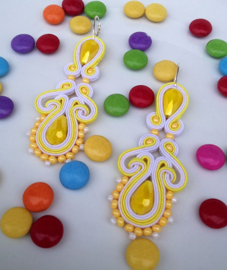 Yellow soutache earring