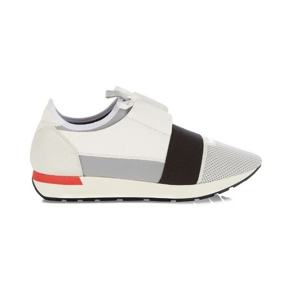 Balenciaga Race Runners panelled low-top trainers ($645) ❤ liked on Polyvore featuring men's fashion, men's shoes, men's sneakers, mens low profile sneakers, balenciaga mens sneakers, mens pointed toe shoes, balenciaga mens shoes and mens low profile shoes