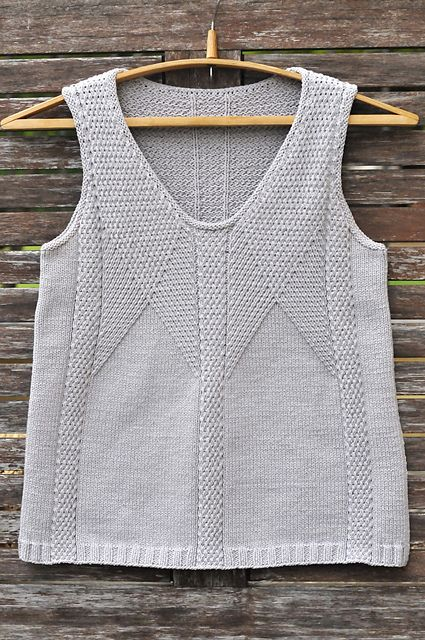 Another clever Norah's design. The basket weave stitch pattern forms a-line shape without any stitch decrease. Classic, elegant top you can wear even in the office.  It was time consuming pro...