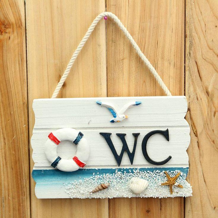 17.5cm mediterranen Stil WC Holzschild Tür Wandbehang Ornaments Bei Banggood