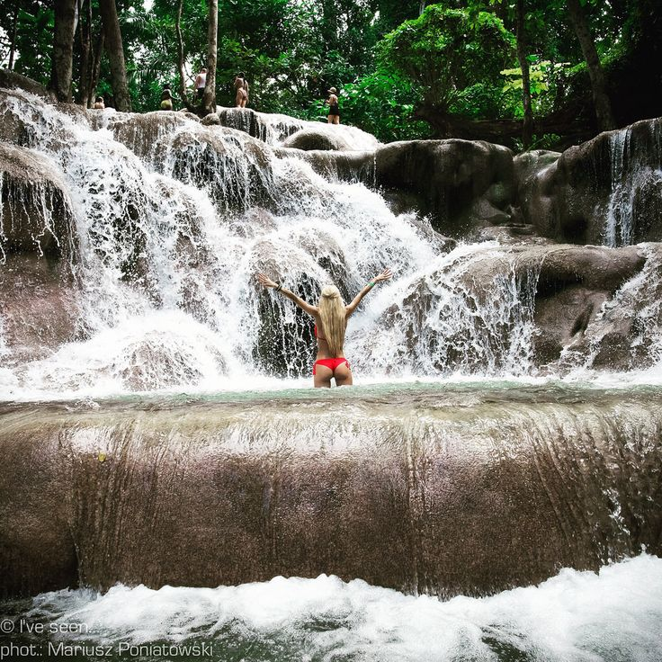Dunns River Falls, Ocho Rios, Jamaica . Famous falls for their ability to let you play in them. Travel to Jamaica with @iveseen_