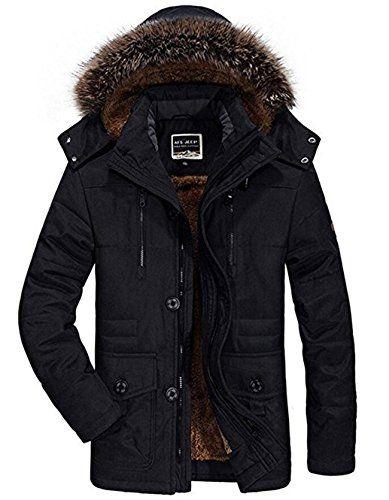6006004ada03 Winterjacke Herren Parka Gefüttert Baumwolle Mantel mit Pelzkragen Jacke  Warm Outdoor Kapuzenjacke mit Fell, 03-Schwarz, Gr. S