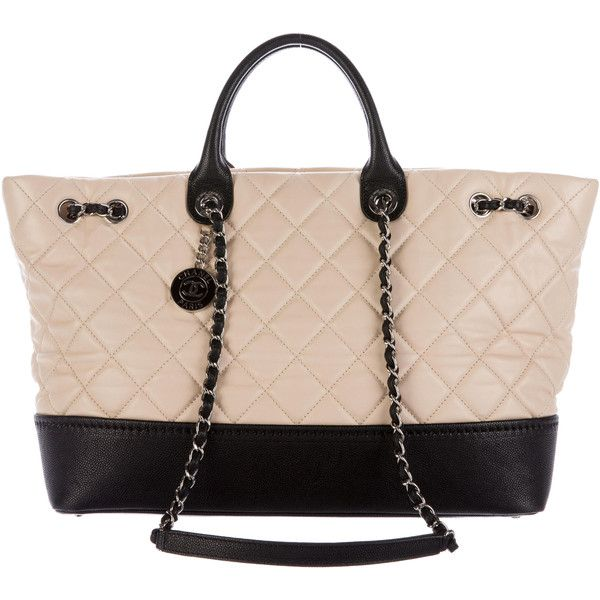 Pre-owned Chanel Bicolor Lambskin Tote ($2,400) ❤ liked on Polyvore featuring bags, handbags, tote bags, black, tote handbags, chanel purse, chanel tote bag, purse tote and quilted tote bags