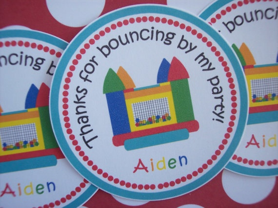 12 Bounce House Party Stickers Bounce House by kidEprints on Etsy, $5.99