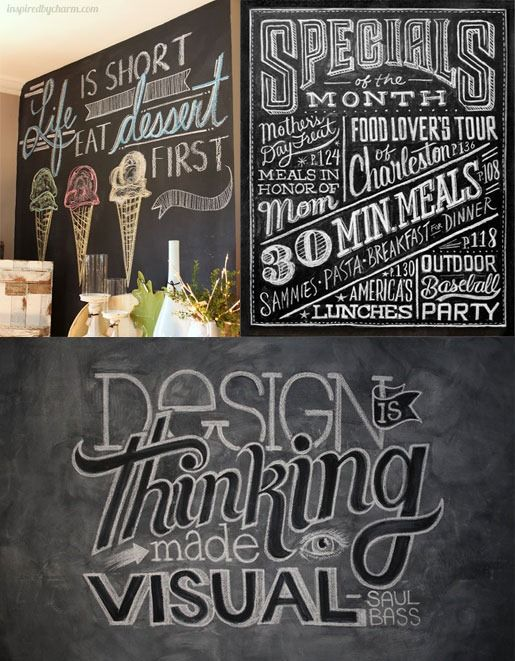 Great information for making professional-looking chalkboard signs. How to Draw Like an Artist on Chalkboard from the 'In My Own Style' blog by Diane Henkler