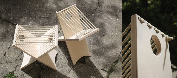 """stakkstol """"norsk""""  Der Steckstuhl """"norsk"""" gehört zu Möbelserie """"woodandrope"""" und ist den klassischen Prinzipien des Wikingerstuhls entlehnt. Konstruktiv besteht der Hocker aus einem Teil das gespieglt und gesteckt den Korpus bildet. Die Sitzfläche wird durch ein in der Holzoberfläche eingelassenes Seil gebildet. Das so enstandene Möbel ist schlicht und einfach und kann durch seine einfache Herstellung zu einem Fairen Preis angeboten werden."""