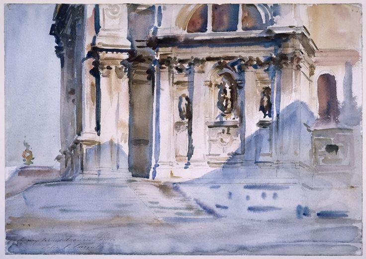 John Singer Sargent (1856 a 1925), Santa Maria della saludo, Venecia. Acuarela y pluma y tinta marrón, alrededor de 1909.