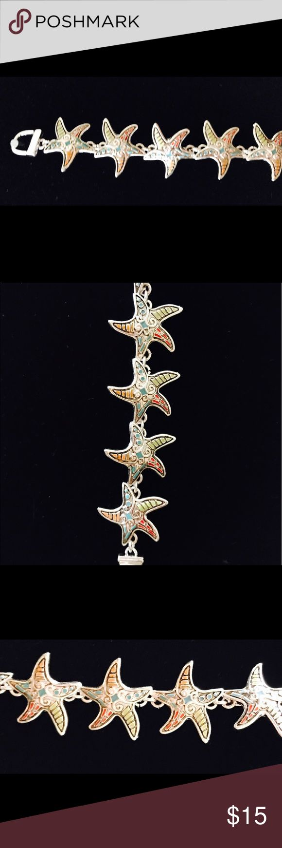 """Multi Color Starfish Bracelet Multi Color Starfish Silver Bracelet. Magnetic closure, Size 7"""" New in package. Accessories"""