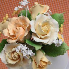 Medium Garden Rose Toppers - Yellow
