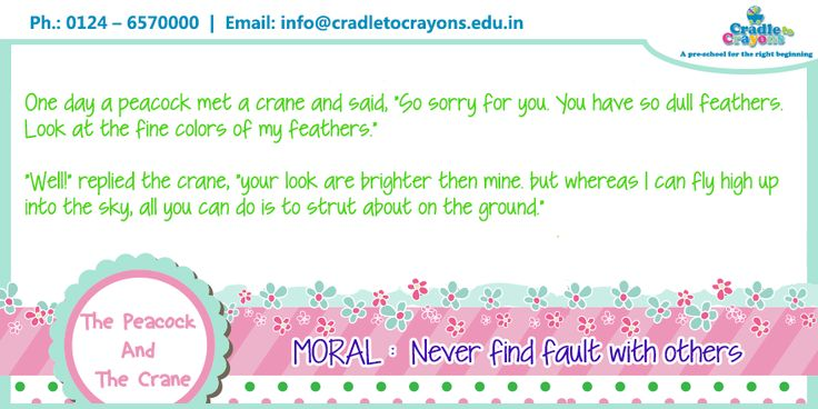"""Today's story is """"The Peacock And The Crane"""" with a #moral """"Never find fault with others."""" #kids #story  #Gurgaon #kids #children #child #parents #toddler #kindergarten http://cradletocrayons.edu.in/"""