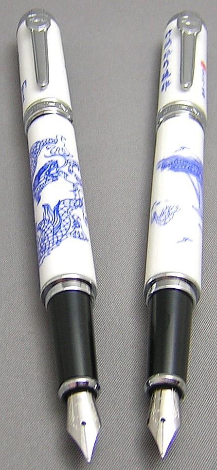 Jinhao Porcelain series fountain pens  http://www.hisnibs.com/images/Chinese/Jinhao/Porcelain/JinhaoPorcelainPostedPair.jpg