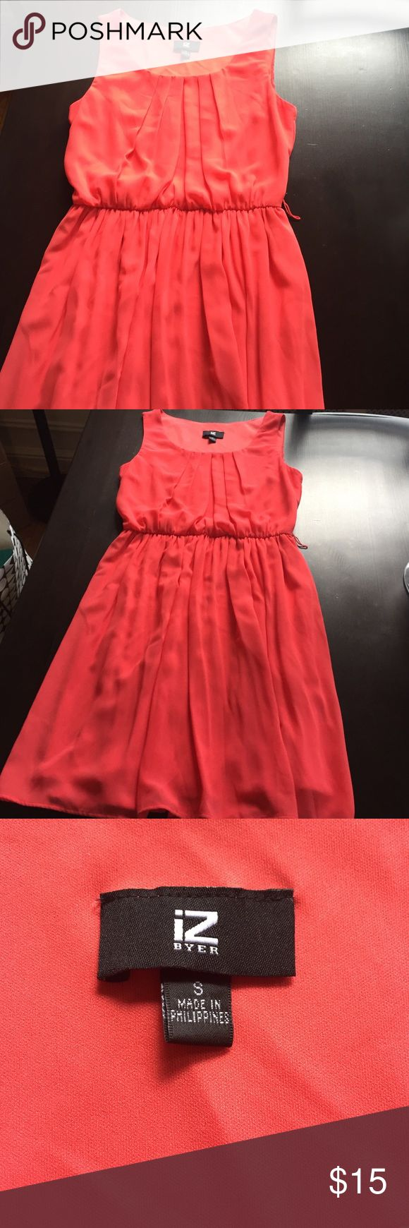 Coral Sundress size small Swingy coral sundress size small. Like new condition. Can be worn with a wide belt as pictures or a thinner one-- goes with so many colors! Dresses